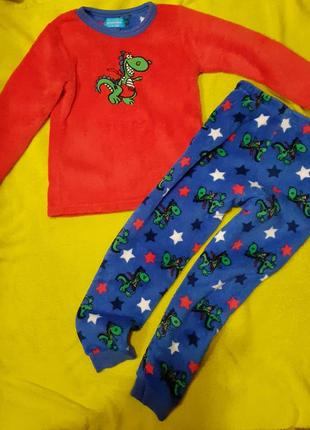 Пижама с драконом штаны кофта  тёплая мягкая пушистая :) 5-6 лет