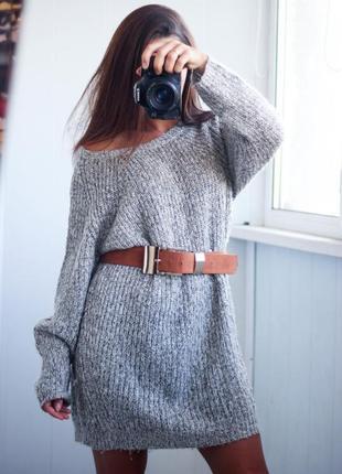 Теплое вязанное платье туника с напылением размер м