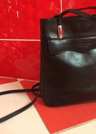 Бомбезный кожаный рюкзак сумка трансформер vera pelle/100%кожа