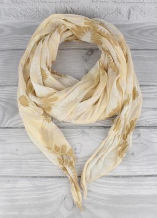 Итальянский шарф girandola 0001-116 бежевый цветочный, коттон 80%, шелк 20%