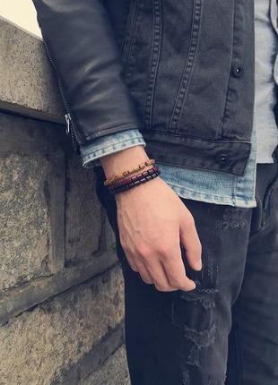 Стильный браслет унисекс из натурального деревянного бисера6 фото