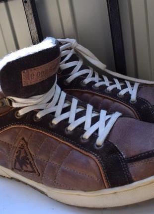 Зимние ботинки кеды утепленные кожаные франция мех внутри демисезонные