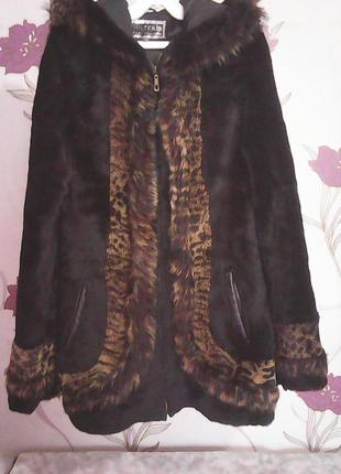Шикарная куртка - черный стриженый козлик и натуральная кожа