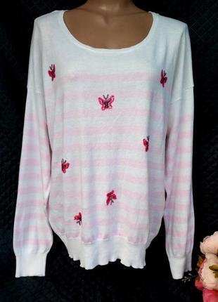 Нежный джемпер в полоску с вышивкой из пайеток бабочки размер 18-20 (50-54)