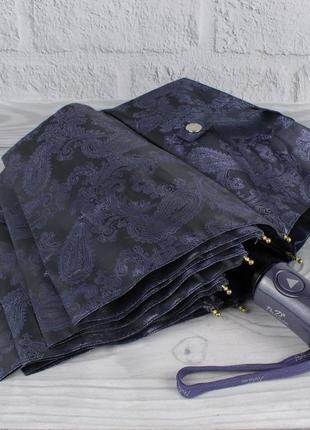 Шикарный качественный складной зонт полуавтомат popular 1696-3р сиреневый, восточный узор