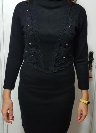 Платье теплое черное по фигуре + кружево и камни swarovski сваровски
