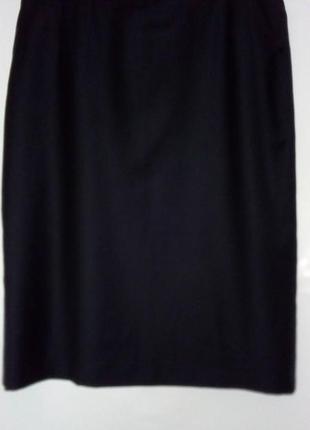 Базовая темно синяя шерстяная юбка карандаш прямого кроя, миди, большого размера, delmod