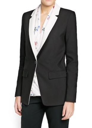Стильный пиджак блейзер с контрастным воротником mango / xs / s