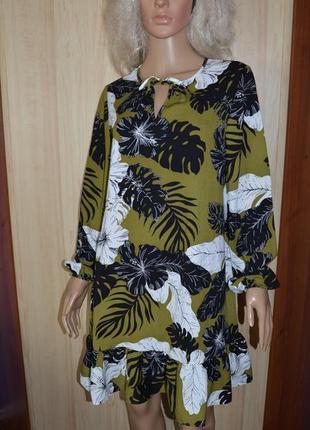 Платье с воланом по низу в тропический принт papaya 12 размер