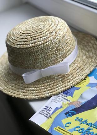 Соллменная шляпка канотье женская с белой лентой