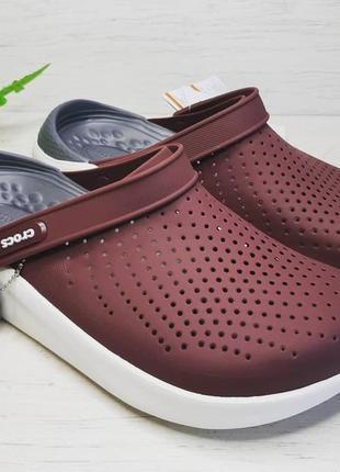 Крокс crocs literide™ clog коричневые burgundy / white