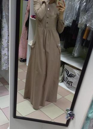 Крестьянское льняное платье в пол