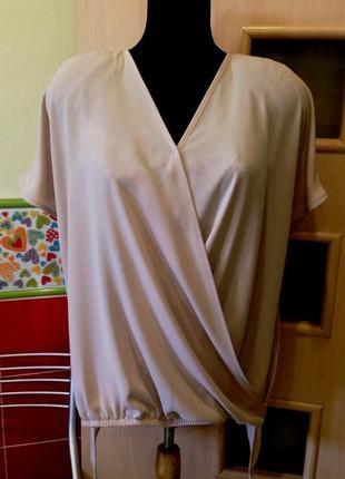 "Элегантная блуза на запах-первая линия-""gizia casual""-бежево/палевый цвет-м/l"