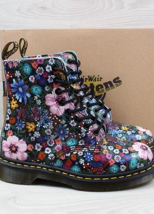 Кожаные женские ботинки в цветы dr.martens оригинал, размер 37