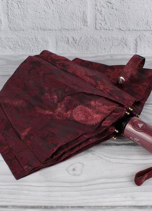 Шикарный качественный складной зонт полуавтомат popular 1696-1р бордовый, восточный узор