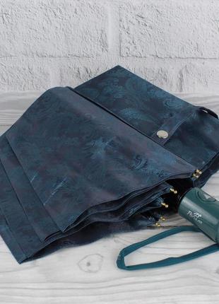 Шикарный качественный складной зонт полуавтомат popular 1696-2р голубой, восточный узор