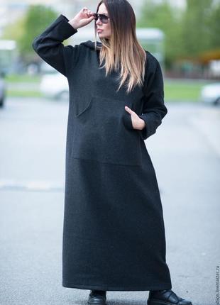 Натуральное, теплое, дизайнерское платье с капюшоном от eug fashion, р. 64-70