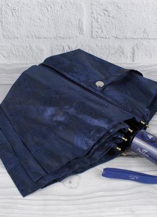 Шикарный качественный складной зонт полуавтомат popular 1696-4р синий, восточный узор