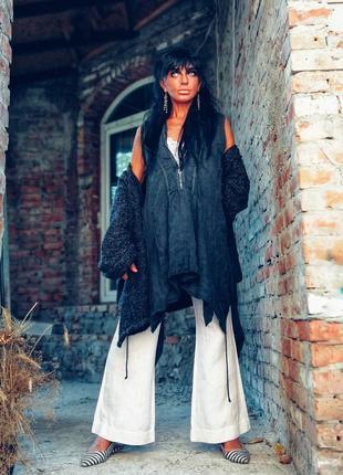 Италия льняная туника блуза в бохо стиле лен асимметричная