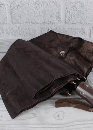 Шикарный качественный складной зонт полуавтомат popular 1696-6р кофе, восточный узор