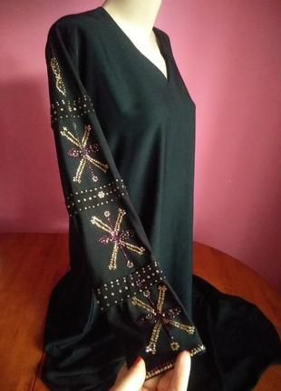 Чорне  довге плаття  з камінням/ нарядное платье