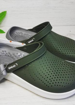 Кроксы crocs literide clog army оливковые / зеленые с серой стелькой green / white
