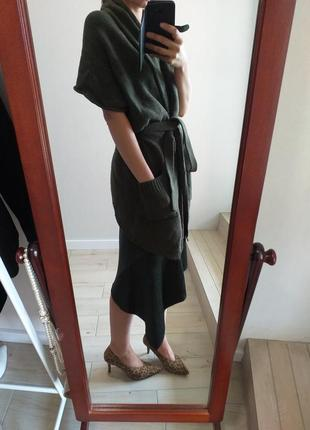 Теплый мягкий длинный кардиган халат хаки
