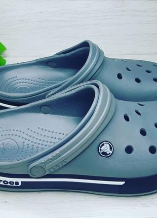 Кроксы мужские серые с черным оригинальные сабо crocs