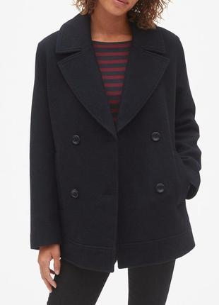Пальто черное шерстяное gap бушлат женский