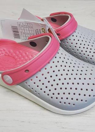Крокс детские crocs kids literide clog кроксы для девочки серо-розовые , оригинал