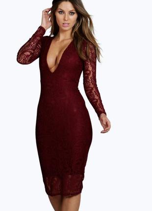 Шикарнейшее платье карандаш футляр миди мелкая вязка бордо марсала декольте вырез