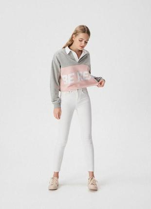 Толстовка с белым воротником кофта свитшот блуза рубашка sinsay