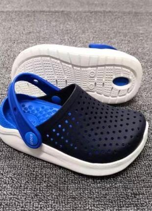 Крокс crocs kids' literide™ clog детские синие с белым кроксы lite ride
