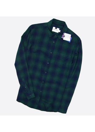 Topman  m / мужская новая рубашка в клетку, сине-зелёный цвет
