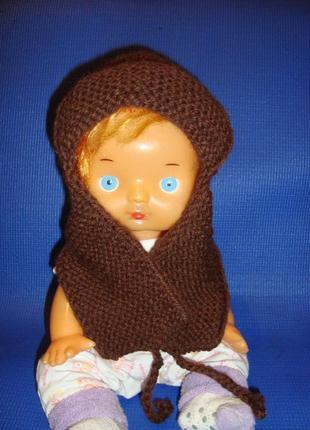 Шапка женская вязанная зимняя коричневая.