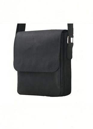 Черная мужская кожаная повседневная сумка через плечо