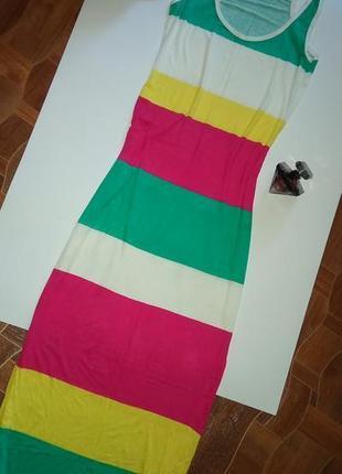 Стильное платье майка макси длинное в полоску р с