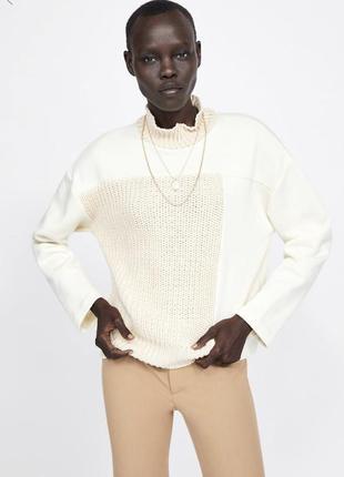 Новый бежевый свитер свитшот на флисе zara