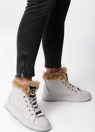 Новые женские серые зимние ботинки