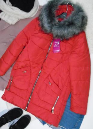 Новая красная зимняя курточка
