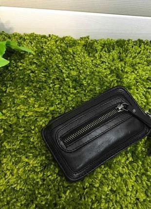 Удобная кожаная ключница-кошелек итальянского бренда нат. кожа