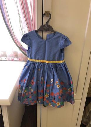 Платье голубое в цветочек, фирма mothercare