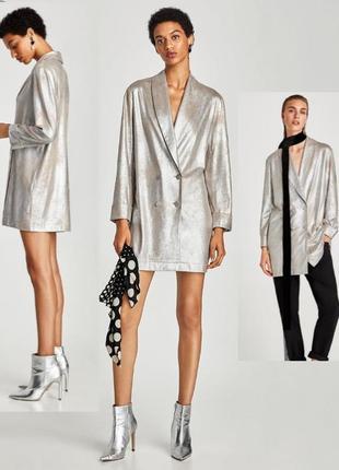 Трендовый пиджак с серебристым напылением