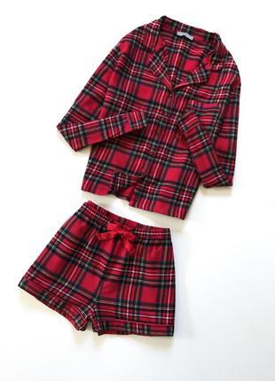 Модная пижама с шортами,красного цвета в клеточку от new look