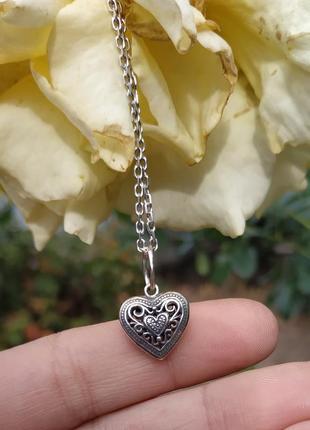 Кулон/подвеска/сердце/сердечко/серебро
