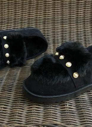 Угги короткие, слипоны тапочки на меху, автоледи ботинки осенние и зимние!черные!деми