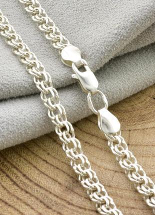 """Серебряная цепочка """"бисмарк"""", длина 50 см, ширина 4 мм, вес 11.0 г"""