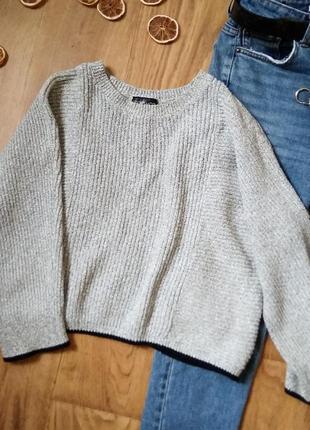 Серый укороченный свитер