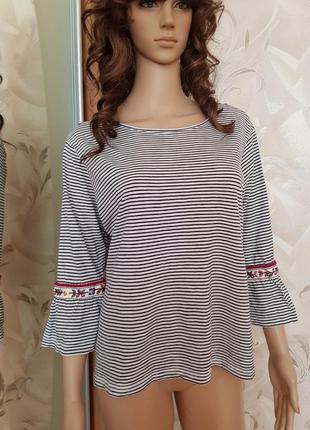 Блуза в полоску с элементами вышивки m&s