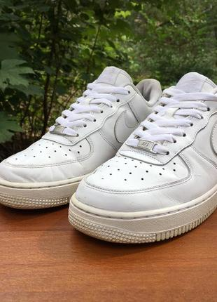 Кроссовки,кеды nike air force 1 белые,кожаные,легкие р.40 original